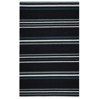 "Rizzy Home Deep Charcoal Azzura HIll Indoor/Outdoor Striped Area Rug - 3'6"" x 5'6"""