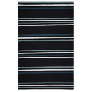 Rizzy Home Deep Charcoal Azzura HIll Indoor/Outdoor Stripe Area Rug (5' x 7'6)