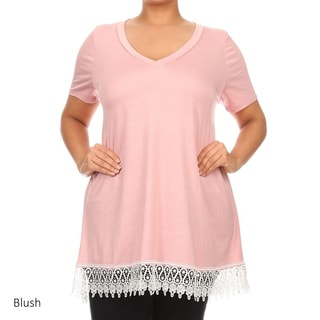 MOA Collection Women's Plus Crochet Lace Tunic