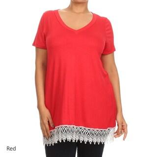 MOA Collection Women's Plus Crochet Lace Tunic