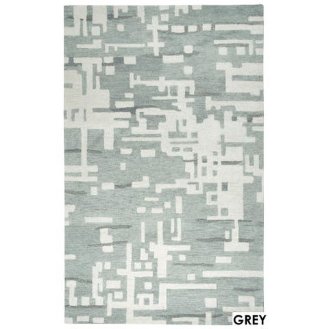 Rizzy Home Grey Leone Collection Abstract Accent Rug (2' x 3') - 2' x 3'