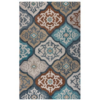 Rizzy Home Blue Leone Collection Ornamental Accent Rug (2' x 3')