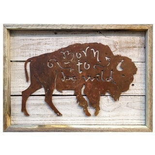 Rustic Shabby Chic Frame with Metal Buffalo 'Born to be Wild' Wall Decor