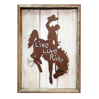 Rustic Shabby Chic Frame with Metal Bronco 'Live, Love, Ride' Wall Decor