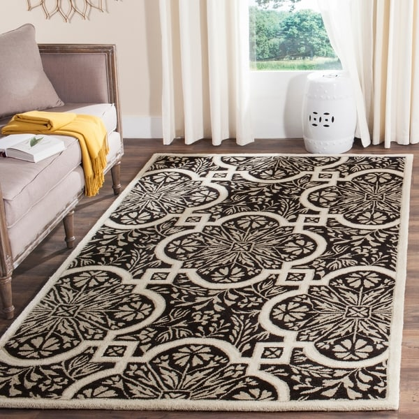 Martha Stewart by Safavieh French Painted Avignon Francesca Black Wool Rug - 8' x 10'