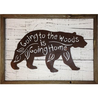 Rustic Shabby Chic Frame with Metal Black Bear 'Going to the Woods is Going Home' Wall Decor