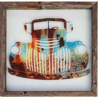 Rustic Framed Glass 'Old Truck' Wall Decor