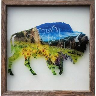 Rustic Framed Glass Buffalo 'Born to Be Wild' Wall Decor