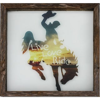 Rustic Framed Glass Bronco 'Live, Love, Ride' Wall Decor