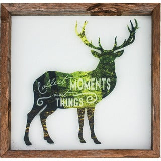 Rustic Framed Glass Deer 'Collect Moments, Not Things' Wall Decor