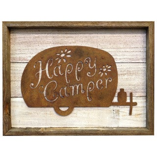 Rustic Shabby Chic Frame with Metal 'Happy Camper' Wall Decor