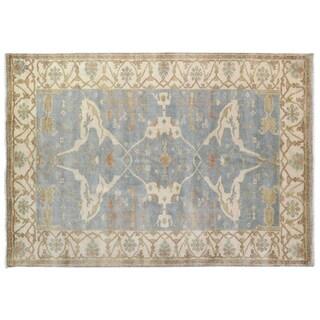 Exquisite Rugs Turkish Oushak Blue / Ivory New Zealand Wool Rug - 6' x 9'