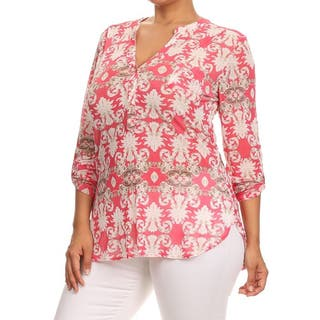 MOA Collection Women's Blue or Pink Polyester/Spandex Plus-size Paisley-pattern Top https://ak1.ostkcdn.com/images/products/11878032/P18775407.jpg?impolicy=medium