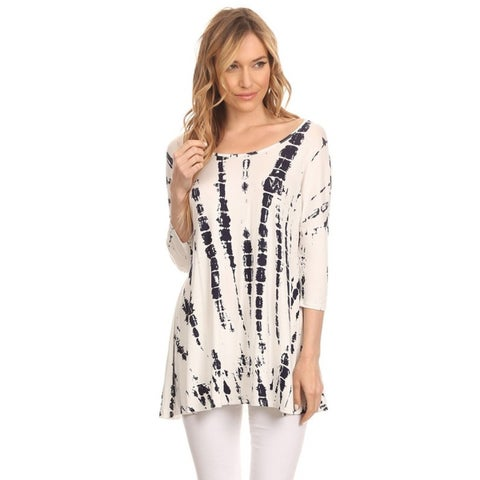 MOA Collection Women's Polyester and Spandex Abstract Tie-dye Tunic