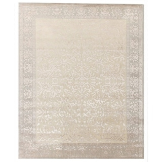 Tibetan-weave Ivory Hand-spun New Zealand Wool and Silk Rug (6' x 9')
