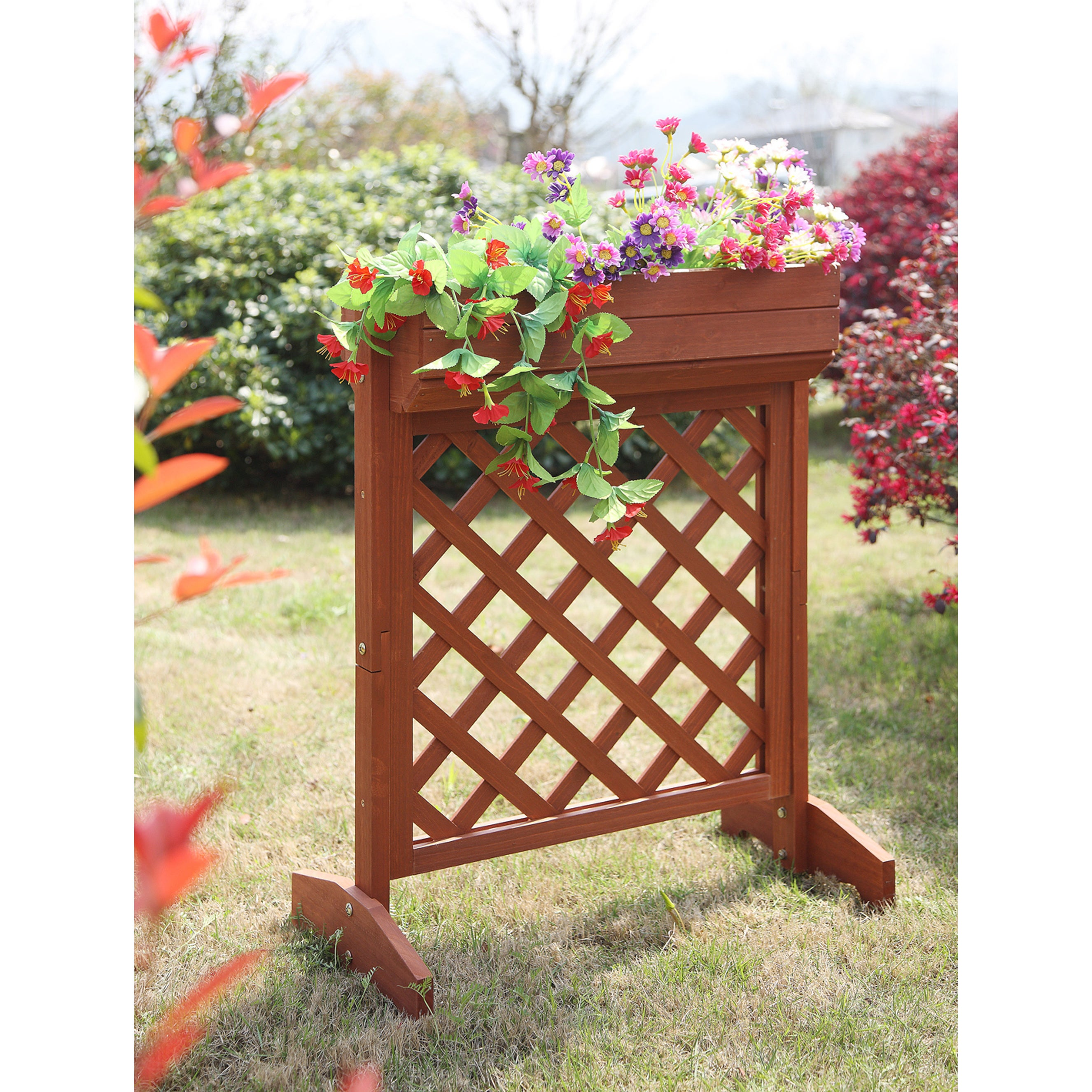 Convenience Concepts Redwood Wood Raised Planter Box (Red...