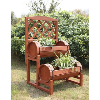 Convenience Concepts Double Barrel Redwood Planter