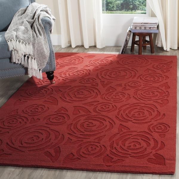 Martha Stewart by Safavieh Block Print Rose Vermillion Wool Rug - 8' x 10'