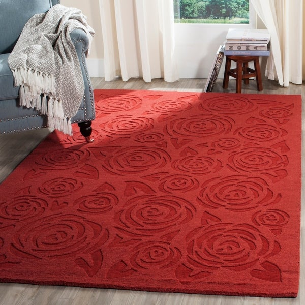 Martha Stewart by Safavieh Block Print Rose Vermillion Wool Rug - 9' x 12'