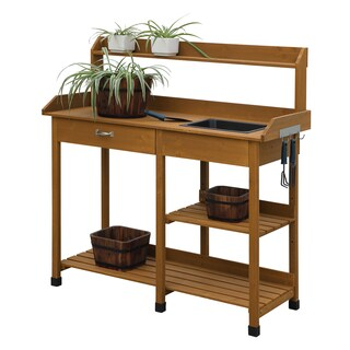 Convenience Concepts Deluxe Orang/Brown Wood Potting Bench