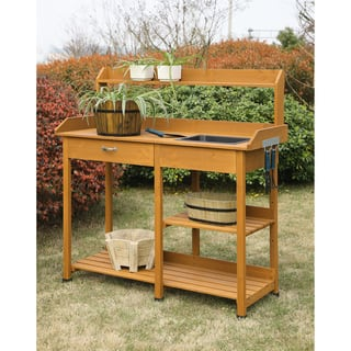 Convenience Concepts Deluxe Orang Brown Wood Potting Bench