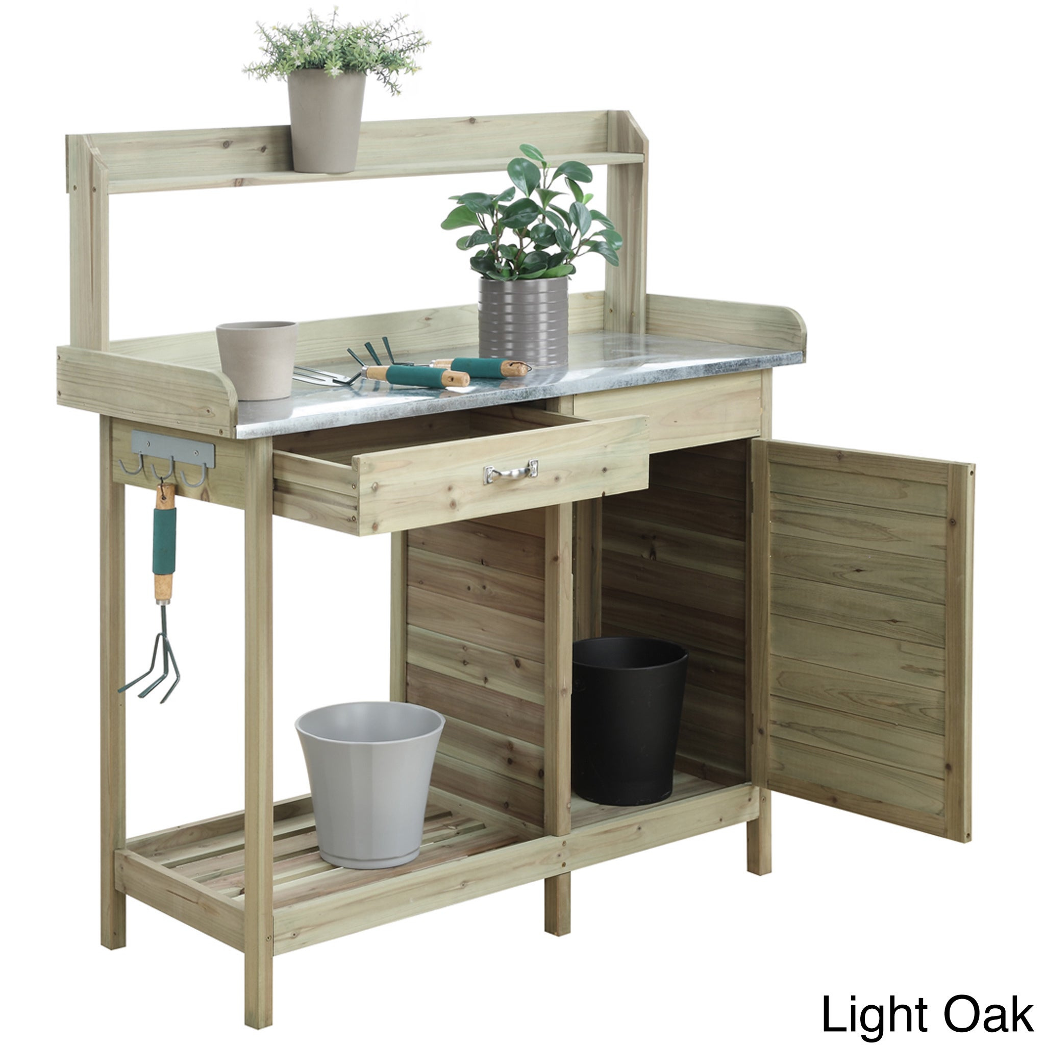 Convenience Concepts Cabinet Deluxe Potting Bench (Light ...