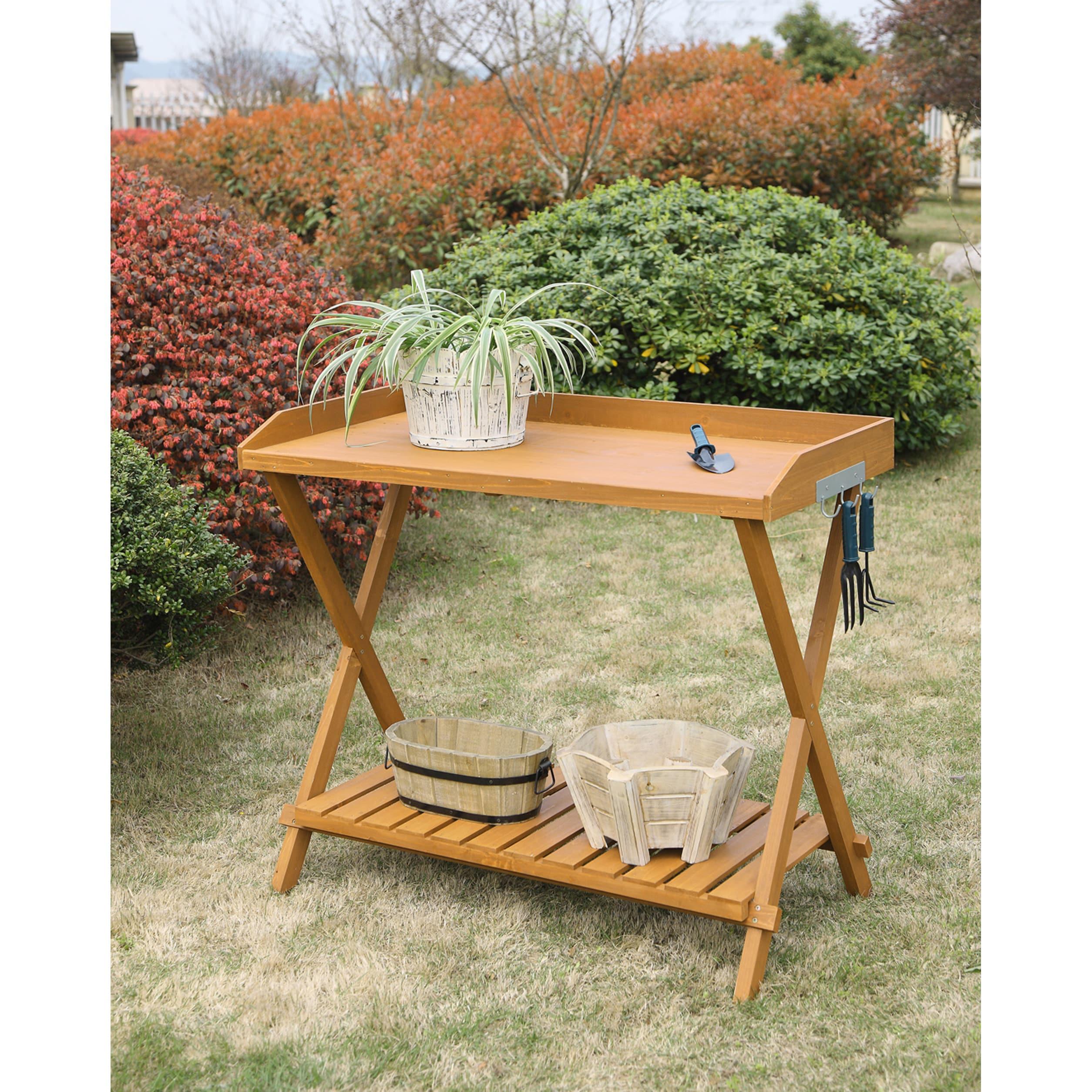 Conveience Concepts Potting Bench (Light Oak), Orange (Wo...
