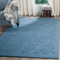 Martha Stewart by Safavieh Block Print Rose Thistle Blue Wool Rug - 9' x 12'
