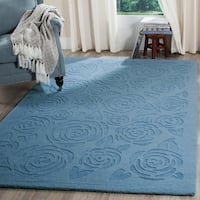 Martha Stewart by Safavieh Block Print Rose Thistle Blue Wool Rug - 9' x 12'