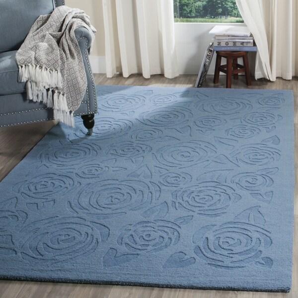 Martha Stewart by Safavieh Block Print Rose Thistle Blue Wool Rug (9' x 12')