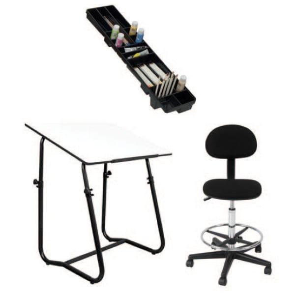 Offex Black 3-piece Height-adjustable Art Drafting Tech Set