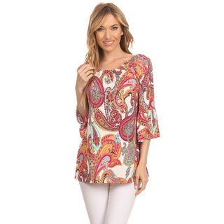 MOA Collection Women's Multicolor Polyester/Spandex Paisley Pattern Tunic