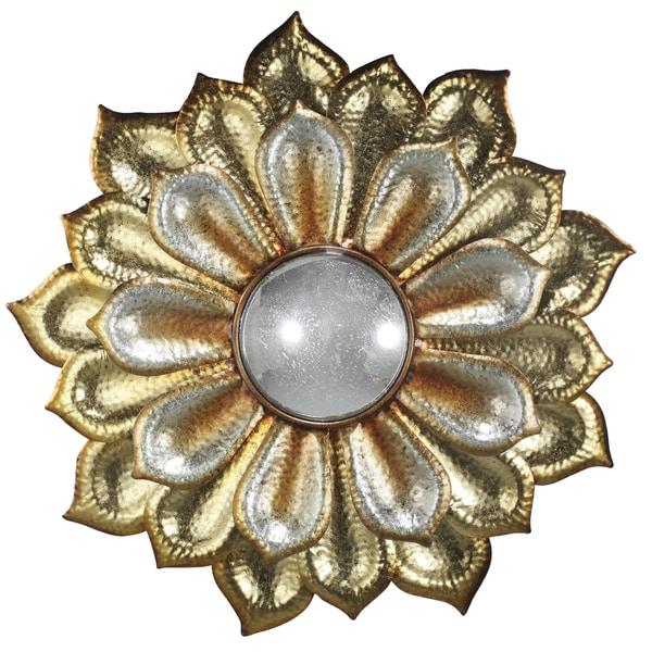 Goldtone Polyresin 36-inch x 36-inch x 2-inch Flower Mirror