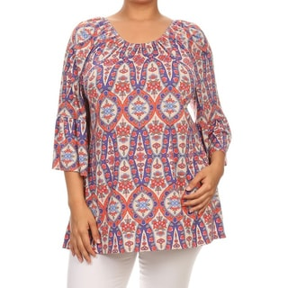 MOA Collection Women's Plus-size Multi-color Polyester and Spandex Border Print Tunic