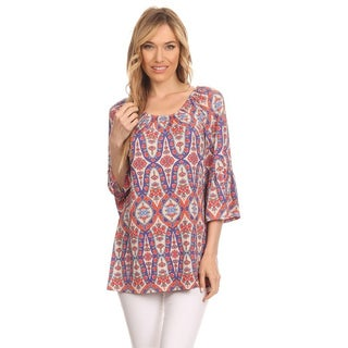 MOA Collection Border Women's Ornate Multicolor Polyester Tunic