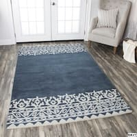 Rizzy Home Navy Marianna Fields Collection Solid Area Rug - 8' x 10'