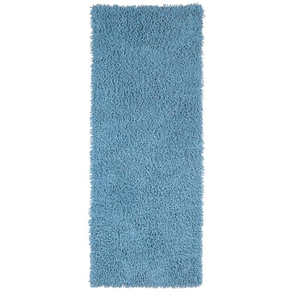 Light Blue Shagadelic Chenille Twist (2'x5') Shag Runner