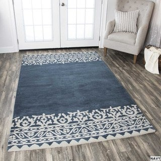 Rizzy Home Navy Marianna Fields Collection Solid Area Rug (9 x 12)