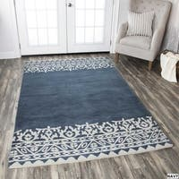 Rizzy Home Navy Marianna Fields Collection Solid Area Rug - 9' x 12'