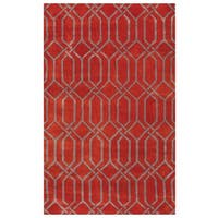 Rizzy Home Red Marianna Fields Collection Ornamental Area Rug - 8' x 10'