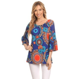 MOA Collection Women's Multicolor Polyester/Spandex Ornate Top