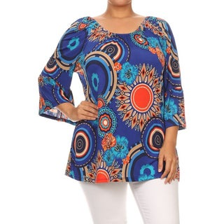 MOA Collection Women's Blue Polyester/Spandex Plus-size Royal Medallion-print Tunic