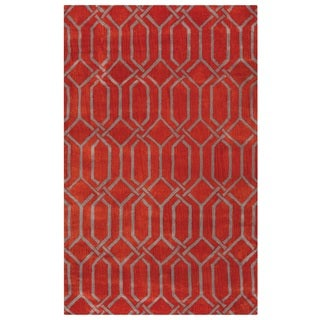 Rizzy Home Red Marianna Fields Ornamental Solid Area Rug (9 x 12)