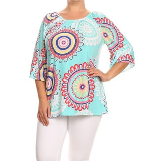 MOA Collection Women's Multicolor Polyester/Spandex Plus-size Medallion Tunic