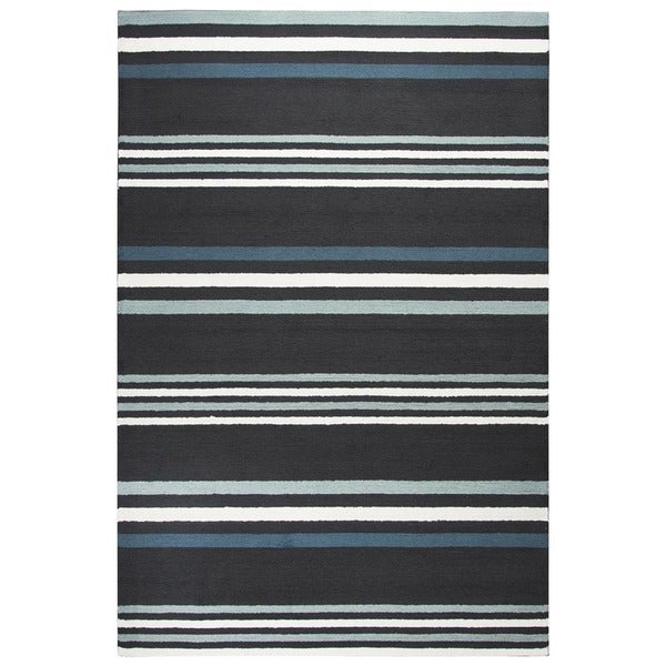 Rizzy Home Deep Charcoal Azzura HIll Indoor/Outdoor Stripe Area Rug - 9' x 12'