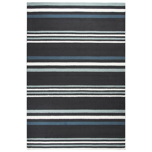 Rizzy Home Deep Charcoal Azzura HIll Indoor/Outdoor Striped Area Rug - 7'6 x 9'6