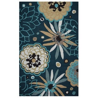 Rizzy Home Navy Azzura HIll Indoor/Outdoor Floral Area Rug (9' x 12') - 9' x 12'