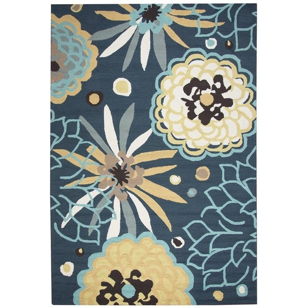 Rizzy Home Navy Azzura HIll Indoor/Outdoor Floral Area Rug - 7'6 x 9'6