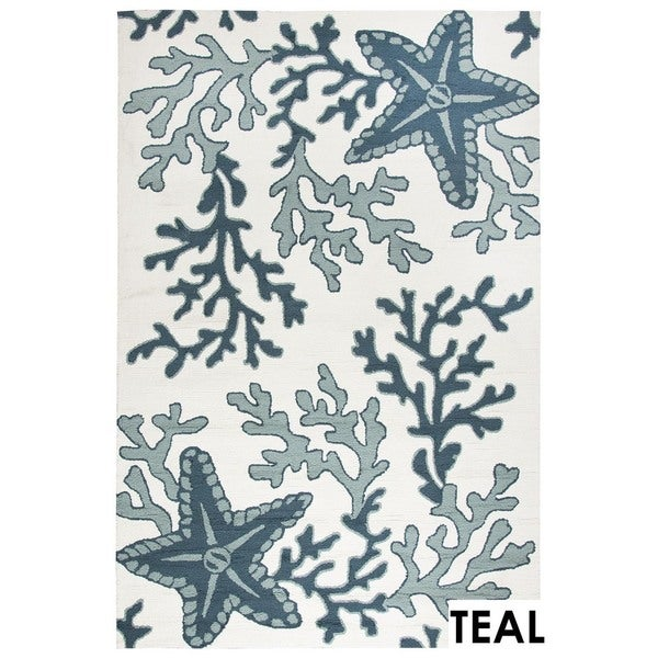 Rizzy Home Tan Azzura HIll Indoor/Outdoor Coral Area Rug - 9' x 12'