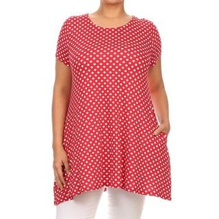 MOA Collection Women's Plus Size Black, Red, White Polyester, Spandex Polka Dot Tunic